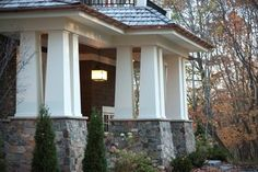 craftsman tapered columns with stone, cornices, no railing, bluestone porch, green siding with stone veneer Anthony Street House - Robert Nehrebecky Craftsman Interior Doors, Craftsman Style Porch, Craftsman Columns, Craftsman Exterior, Craftsman Homes, Craftsman Cottage, Stone Exterior, Bungalow Exterior, Modern Craftsman