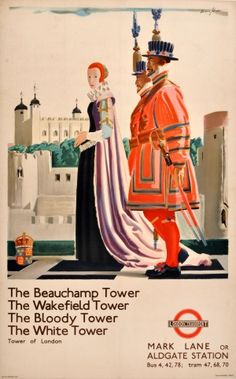 LT Tower of London Underground Andrew Johnson, 1935 - original vintage poster by Andrew Johnson listed on AntikBar.co.uk