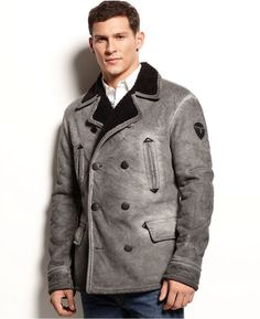 Grey Pea Coat by Armani Jeans. Buy for $545 from Macy's