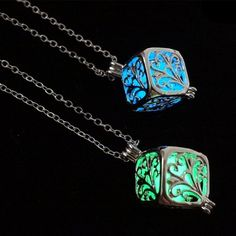 Creative Atlantis Luminous glow locket hollow out necklace glow in the dark tree necklace pendant  light up jewelry