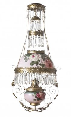 A Late Victorian Enameled Glass Hanging Oil Fixture. 10/15, 12pm