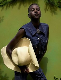 Adut Akech Saddles Up In WOW Images by Viviane Sassen for Dazed Magazine Autumn 2019 — Anne of Carversville Wow Image, Denim Waistcoat, Viviane Sassen, Jackie Aina, Dazed Magazine, Mode Editorials, Fashion Editorials, Pleated Shirt, Anthony Vaccarello