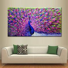 Modern Abstract Large Wall Decor Oil Painting On Art Canvas,Peacock(No Frame)  | eBay!