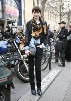 Hermes scarf and leather jacket