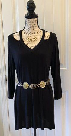 2d9dfabfe50 Women Juniors Black 3 4 Sleeve Cut Out Tunic Dress Top -Size M