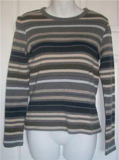 GAP Sweater Top Medium Gray Striped Long Sleeve Shirt M Cotton Everyday #GAP #KnitTop #Everyday