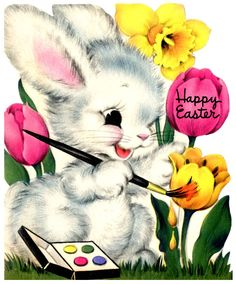 vintage easter card - bunny painting flowers
