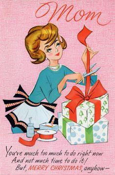 Good 'ole Mom at Christmas. FUN vintage card #vintage #etsy