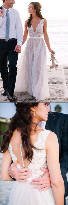 Elegant Wedding Dress,Beach Wedding Dress,Coast Wedding Dresses,Lace Bridal Gowns,A Line Tulle Wedding Dress,Bridal Dress For Beach Wedding,Wedding Dress https://bellanblue.com