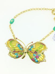 butterfly pin brooch pendant necklace diamonds TCW 1.70 enamel semi precious stones incredible artwork women by KGMDiamonds on Etsy