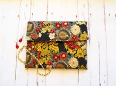 Gold asian fabric clutch peacock floral clutch by RobynFayeDesigns