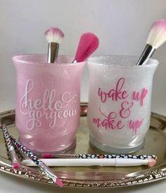 Vanity Jars Makeup Brush Holder Makeup Brush Jar by BJuneEvents