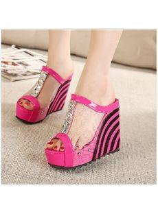 Terrific Contrast Color PU Wedge Sandals