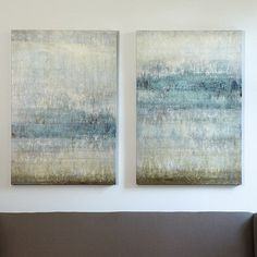 These ethereal abstracts by Joshua Schicker embody the spirit of Nordic Abstract Art Joshua layers cool tones of spa and mineral with warm smoky lavender, cream and sandalwood to create the impression of a deepening horizon. Digitally printed on gallery-wrapped canvas. Available in Stretched Canvas with an acrylic glaze finish hand applied by palette knife to recreate the texture of the original or in Glass Coat Canvas with a high gloss epoxy finish hand poured over