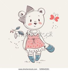 Cute little bear girl in dress cartoon hand drawn vector illustration. Can be used for baby t-shirt print, fashion print design, kids wear, baby shower celebration greeting and invitation card.