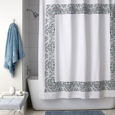 Legends® Durham Shower Curtain - Beautifully designed from start to finish, this pristine white cotton shower curtain is framed with an appliqué paisley border. Crafted with mitered edges and a buttonhole top for a clean finish, our Legends® Durham Shower Curtain makes an elegant choice for the bath.