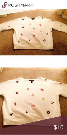 Forever 21 White Sweatshirt ! White light pull over that has a fun patchwork of things!! Some of the small designs include bumblebees, bananas, peaches, Lobsters, seaboats, and more. It has a Nautical feel to it!! Fits like a M/L. Forever 21 Sweaters Crew & Scoop Necks