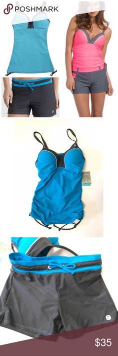 NWT Blue/Gray Tankini Set Free Country turquoise & gray 2-pc swimsuit, size S (4/6). Tankini top and shorts bottoms. New with Tags! Free Country Swim