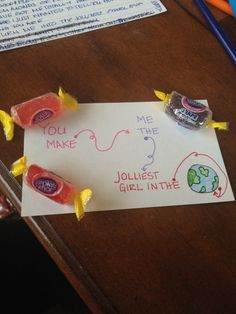 Long distance relationship, care package for my boyfriend with cute little notes..  Jolly ranchers. Jolliest girl in the world.