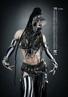black and white Goth belly dancer. There actually is a movement for this