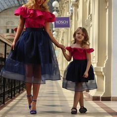 Magbridal Stunning Organza & Satin Off-the-shoulder Neckline Tea-length A-line Mother And Daughter Dress With Ruffles Mother Daughter Fashion, Mom Daughter, Cute Homecoming Dresses, Prom Dresses, Girls Dresses, Formal Dresses, Tea Length Skirt, Mommy And Me Outfits, Party Gowns