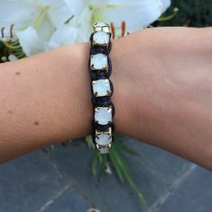 Rope Stud Bracelet NWOT black roped stud bracelet with gold beads. Beautiful accessory to add to any outfit from casual to dressy. Boutique Jewelry Bracelets