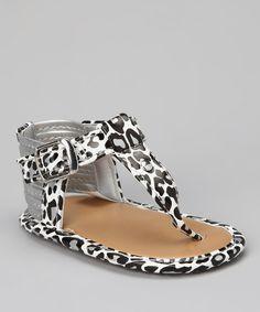 Natural Steps White & Black Leopard Lil' Sahara Sandal by Natural Steps #zulily #zulilyfinds