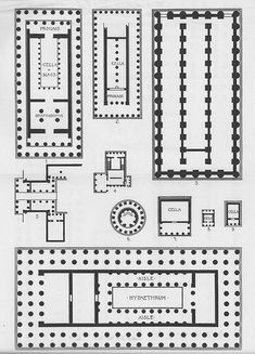 Greek Temples: Plans | Flickr - Photo Sharing! Ancient Greek Architecture, Religious Architecture, Classical Architecture, Historical Architecture, Art And Architecture, Building Columns, Building Plans, Ancient Greek Theatre, Circular Buildings