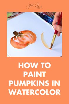 """Here's how to paint pumpkins in watercolor. What's more festive for fall than some pumpkin decor?? For this watercolor tutorial, I teach you how to use a basic, simple """"C"""" curve to make these beauties. Watercolour Tutorials, Painted Pumpkins, A Pumpkin, Pumpkin Decorating, Teaching, Painting, Painted Gourds, Decorating Pumpkins, Painting Art"""