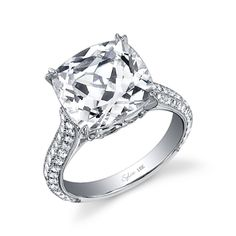 Cushion Cut Diamond Ring....I have been looking for you. I will take just the big one In the middle, I don't don't even need the little diamonds on the side!!!