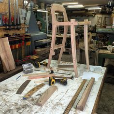 «Progress shot - Cherry stool getting the stretchers fitted from there the final touches before being taken apart sanded & then glued up! Fine Woodworking, Woodworking Projects, Mackintosh Furniture, Wood Furniture, Furniture Design, Sam Maloof, Take Apart, Simple Lines, Building Design