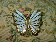 Vintage Butterfly Brooch Pendant Silver & Gold by TheIDconnection
