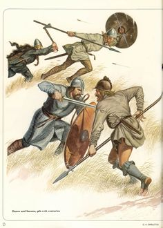 A Danish thegn attacks a Saxon freeman with his sword. Fyrd - The fyrd, were the freeman peasant levy (conscripts) that made up the bulk of warriors in north Germanic cultures. Usually they were armed with nothing but a spear, seax (long knife), and helmet. Single handed axes, and throwing axes (francesca) were common too. Body armor and true swords were reserved for thegns (Saxon: Thane) - the progenitors of the knightly class. -DK