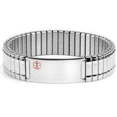 Medical Alert Bracelets and stylish jewelry custom engraved for men, women, children - JMFC1112 The William - Wide Stretch Stainless Medical ID Bracelet
