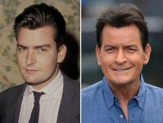 Charlie Sheen (1987, 2015) - Ron Galella, Ltd./WireImage/Getty Images; Noel Vasquez/Getty Images