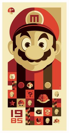 I need this for our Game wall! Tom Whalen inspired by Super Mario Bros. The Old School Video Game Art Show at in Venice, California had over 90 artists create original works inspired by classic video games. Tom Whalen, Video Game Show, Video Game Art, Poster Retro, Vintage Posters, Illustration Vector, Illustrations Posters, Vector Art, Super Mario Bros