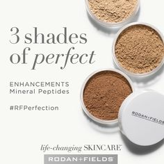 ENHANCEMENTS Mineral Peptides. These lightweight powders, available in three shades, help reduce visible signs of aging and protect with broad spectrum SPF 20 sunscreen. They are also great for contouring and keeping oil at bay throughout the day! #rodanandfields #lifechangingskincare #rfperfection
