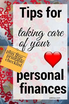 Tips for taking care of your personal finances