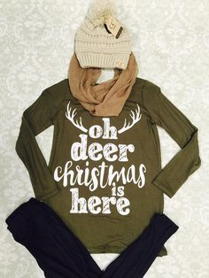 Kid's Oh Deer Christmas is Here Tunic ~ Lily Zita Tween Boutique ~
