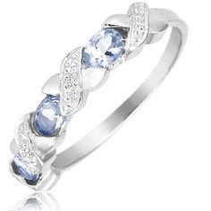 $19.99 - ½ Carat Tanzanite Diamond Accent Criss Cross Design Ring