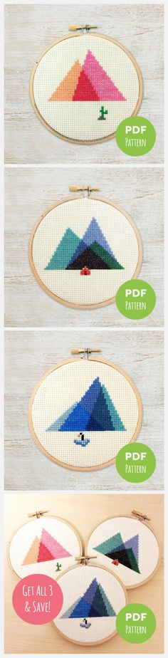 Minimal Mountain Cross Stitch Patterns by Treefort Five - Perfect for Beginners: www.etsy.com/listing/268143688/minimal-mountains-get-all-3-save-modern