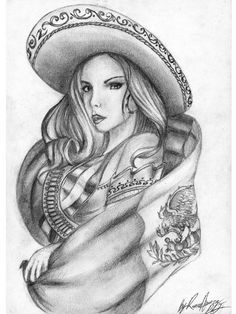 Image detail for -Lowrider Arte Black And White Art Sombrero Woman Photo 66