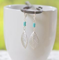 Silver Leaf and Turquoise Dangle Earrings by RusticGem, $21.00