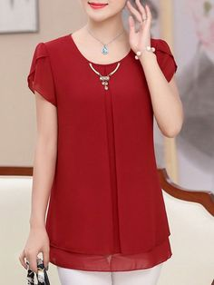 Best 12 Shop Autumn Spring Polyester Women Round Neck Plain Short Sleeve Blouses online with high quality and hurry to get fashion on Blouse Styles, Blouse Designs, Short Sleeve Blouse, Short Sleeve Dresses, Short Frocks, Stitching Dresses, Sleeves Designs For Dresses, Blouses For Women, Fashion Dresses