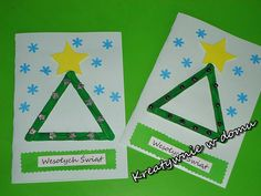 50 pomysłów na kreatywną CHOINKĘ, 50 ideas for a creative Christmas Tree Christmas Tree Crafts, Diy Christmas Cards, Diy Cards, Triangle, Symbols, Letters, Logos, Cards, Xmas