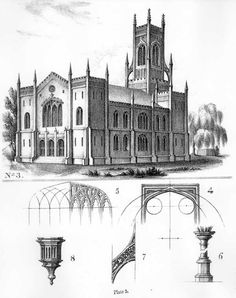 Essay On Gothic Architecture By John Henry Hopkins This Plate Represents A Perspective View Of Trinity Church Pittsburgh