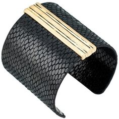 The Sak Wrapped Cuff Bracelet (Black/Gold) Bracelet ($79) ❤ liked on Polyvore featuring jewelry, bracelets, yellow gold cuff bracelet, gold cuff bracelet, cuff bangle, gold charm jewelry and gold jewellery