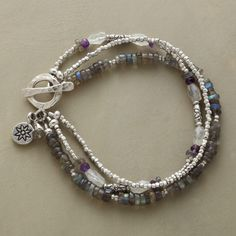 """STORM CLOUDS BRACELET--A multi-strand gemstone toggle bracelet, in which the storm cloud colors of labradorite, moonstone and amethyst are shot through with the radiance of sterling silver beads. Toggle clasp. Exclusive. Handcrafted in USA. Approx. 7-1/2""""L."""
