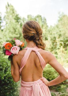 Victoria Lou Dress  Elegant twist  Multiway Convertible  Infinity  Bridesmaid Maxi  Pink blush