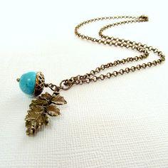 Acorn pendant oak leaf pendant turquoise acorn by jinjajewellery, £12.00